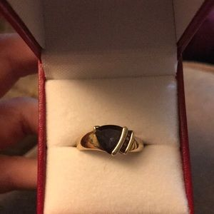 Sapphire Ring With White Sapphire Accents